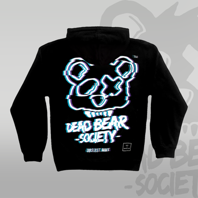 DEAD BEAR SOCIETY™ X Glitch Life™ Black Hoodie Back print black