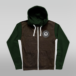 DEADLY BRAND Grey & Green Two Tone Zip Up Hoodie - XXL ONLY