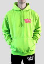 DEADLY BRAND® TRASHY logo embroidered in vibrant pink on the left chest of a vibrant green hoodie.