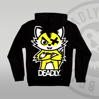Deadly Fox Pullover Hoodie Yellow Cat Back print