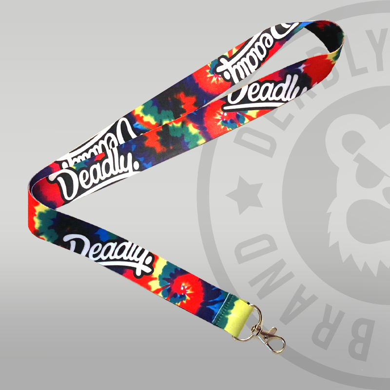 Deadly Tie Dye Lanyard multi colour logo