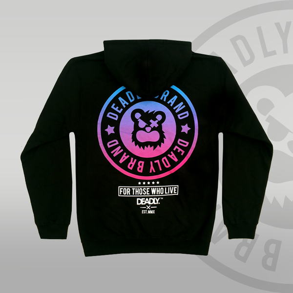 Deadly Brand Fade Pullover Hoodie Blue to Pink back print
