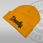 Deadly Script Cuffed Gold Beanie