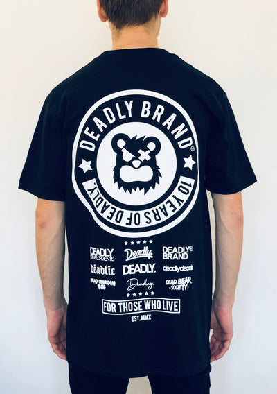 DEADLY BRAND® 10 YEARS T-shirt (With Back Print)