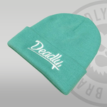 Deadly Script Cuffed Mint Beanie