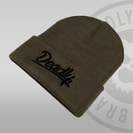 Deadly Script Cuffed Moss Green Beanie