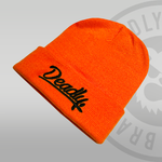 Deadly Script Cuffed Orange Beanie