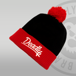 Deadly. Red & Black Pom Pom Beanie