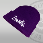 Deadly Script Cuffed Purple Beanie