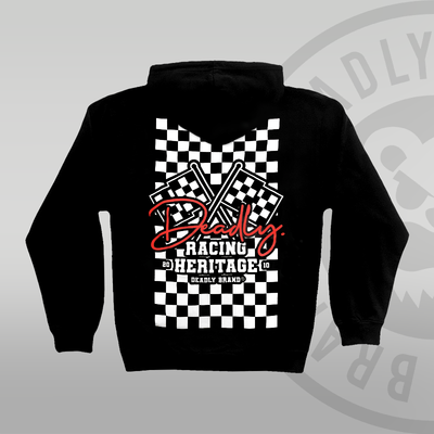 DEADLY. Racing Flag Pullover Hoodie back print