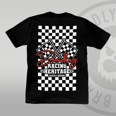 DEADLY. Racing Black T-shirt (With Back Print) flag