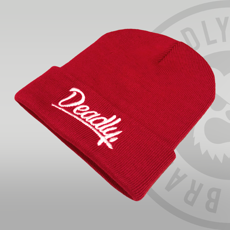 Deadly Script Cuffed Red Beanie