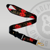 Deadly Rose Lanyard With Gold Clip Black and Red