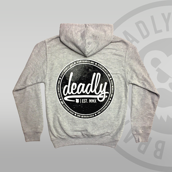 Deadly Zip Up Galaxy Heather Grey Hoodie