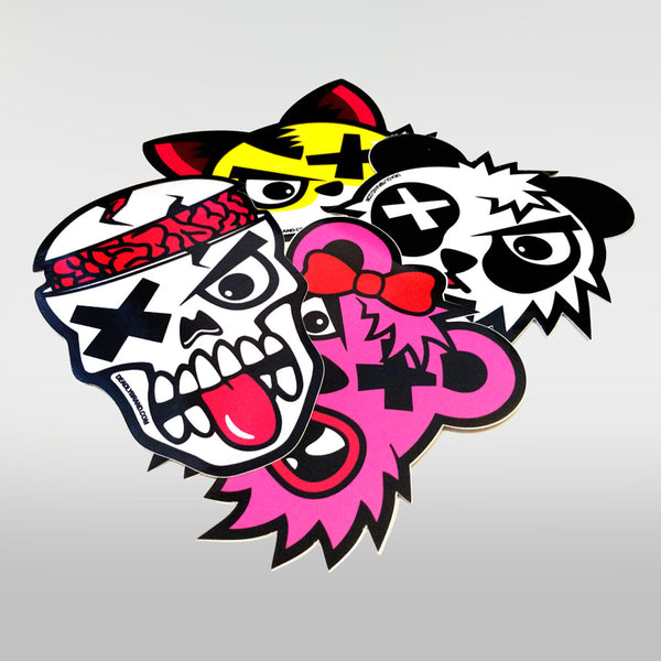 Deadly Sticker Pack 2 - Contains: Deadly Skull, Deadly Panda, Deadly Fox, Deadly Mrs Bear
