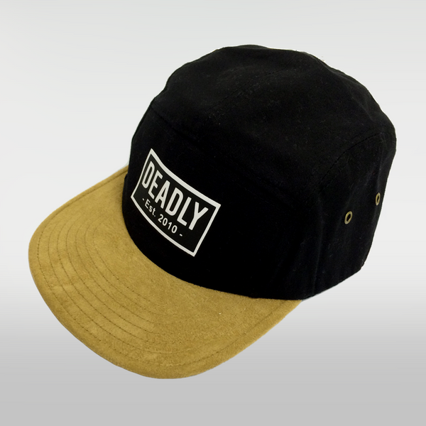 Deadly 5 Panel Cap Black With Suede Peak