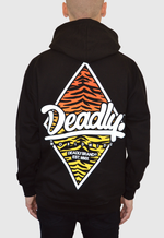 DEADLY. WORLDWIDE TIGER PRINT HOODIE - LIMITED EDITION oversize back print orange to yellow