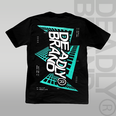 DEADLY BRAND® Coding T-shirt (With Back Print) mint and white oversized print black t-shirt