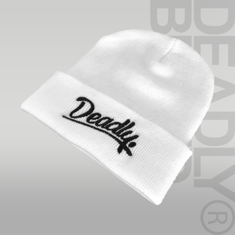 DEADLY. Script Cuffed White Beanie