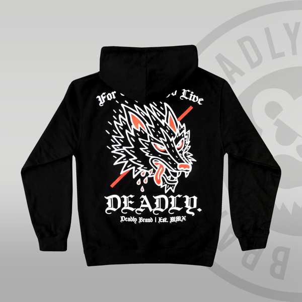 DEADLY. Wolf Pullover Hoodie Deadly Brand Back print