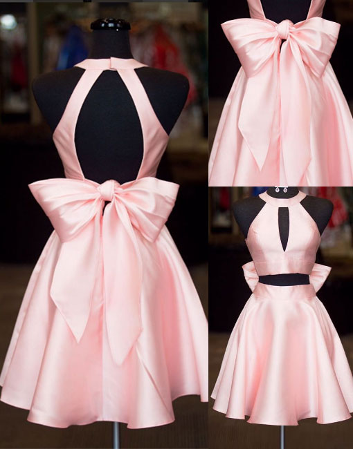 Cute pink two pieces short prom dress, homecoming dress