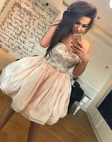 Cute champagne A line strapless short prom dress, homecoming dress