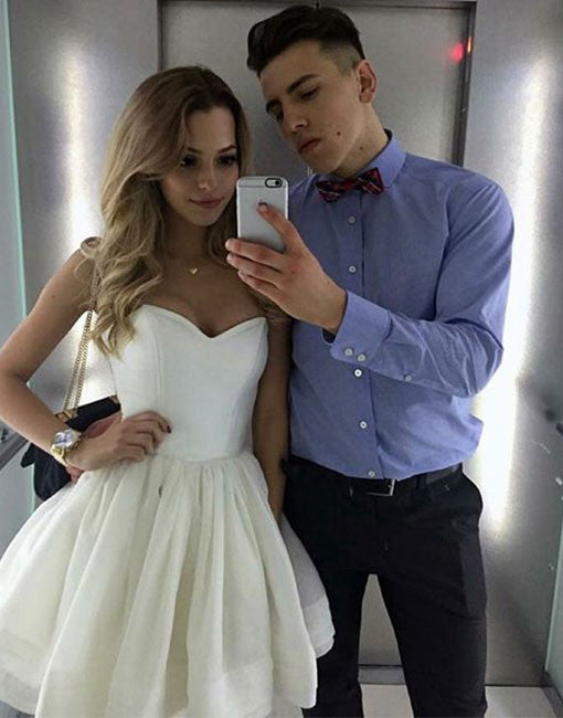 Cute A line sweetheart neck short prom dress, white homecoming dress