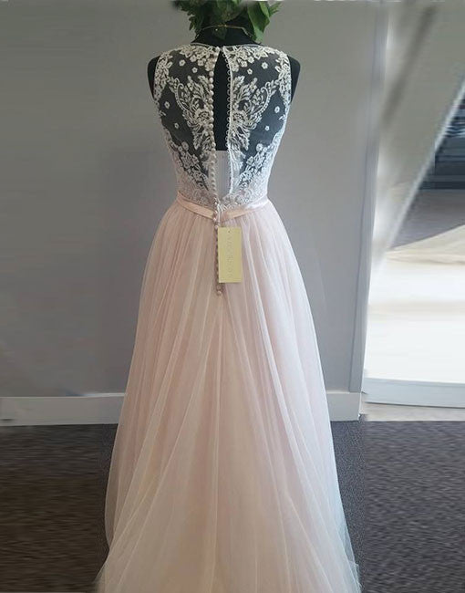 Light pink v neck tulle lace long prom dress, lace evening dress