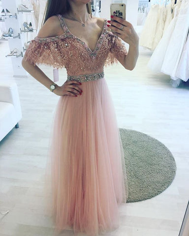 Pink v neck lace A line long prom dress, pink evening dress