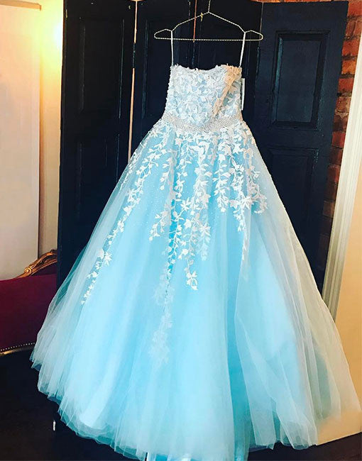 Beautiful A line tulle lace long prom dress, blue evening dress