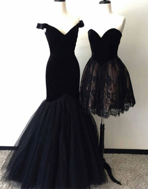 Custom made black tulle long prom dress, black lace homecoming dress