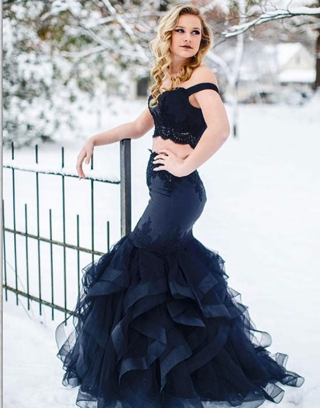 Dark blue two pieces tulle lace long prom dress, tulle evening dress
