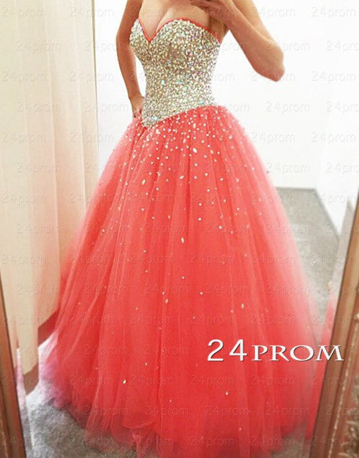 Sweetheart Neck Tulle Rhinestone Sequin Long Prom Dresses, Formal Dresses