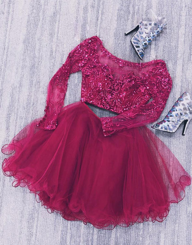 Burgundy two pieces lace short prom dress, burgundy homecoming dress