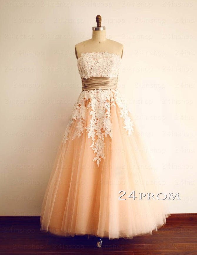 Champagne A-line Lace Tull Prom Dresses, Formal Dresses