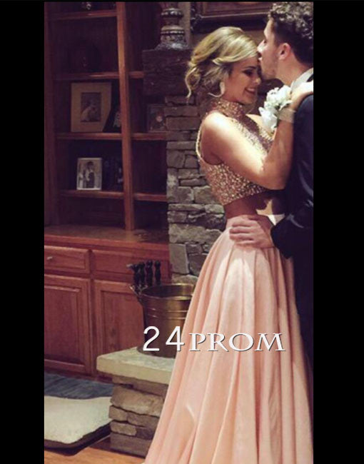 Custom Made Pink Sequin 2 Piece Long Prom Dress, Evening Dresses