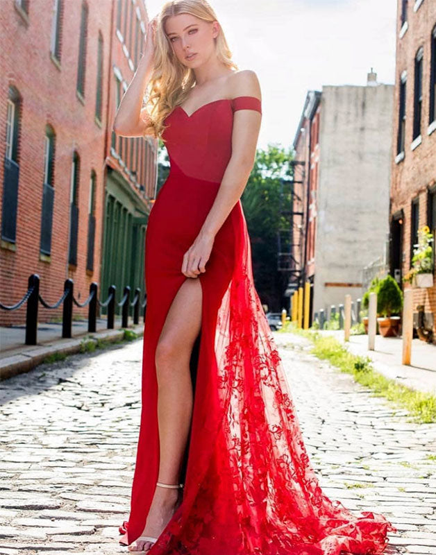 Red off shoulder lace long prom dress, red evening dress