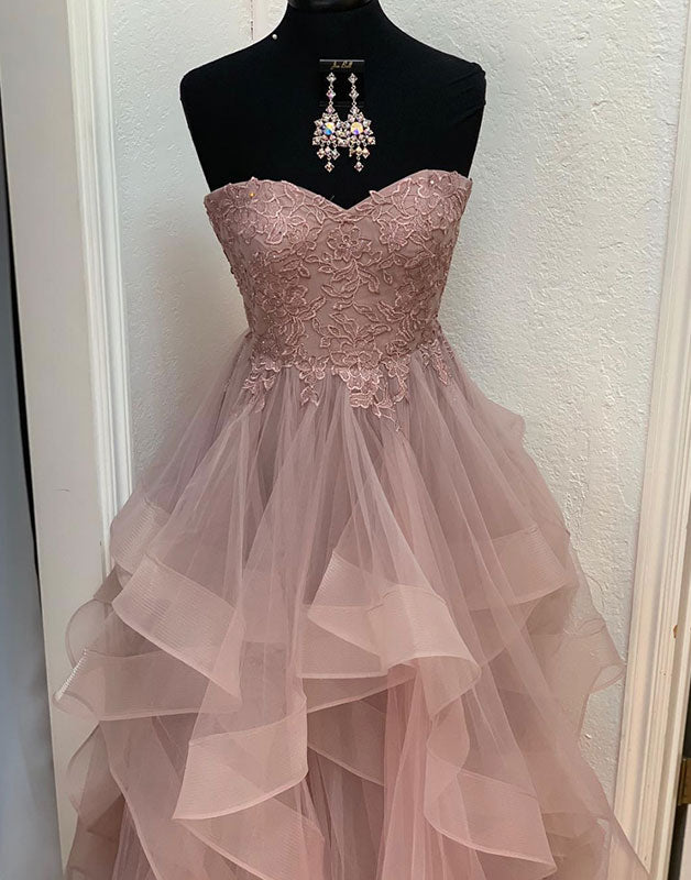 Unique sweetheart lace tulle long prom dress, evening dress
