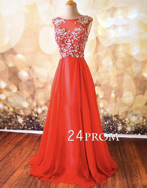 Sweetheart Red Chiffon Backless Long Prom Dresses, Formal Dresses