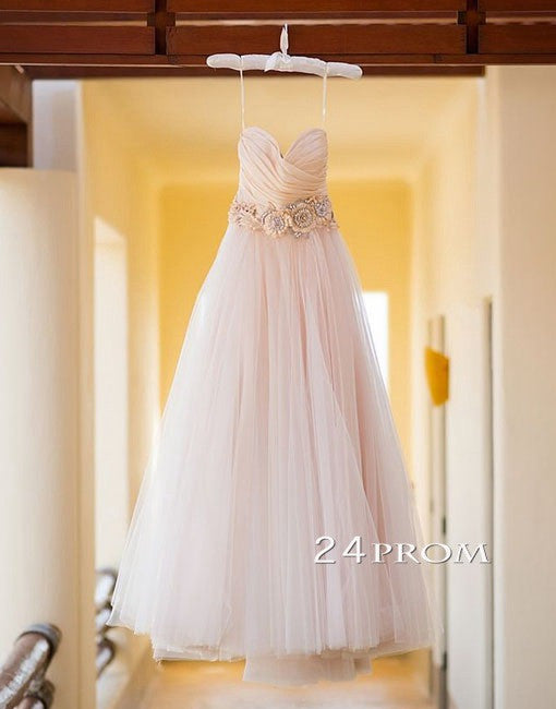 Sweetheart Neck Tulle Long Wedding Dresses, Wedding Gown