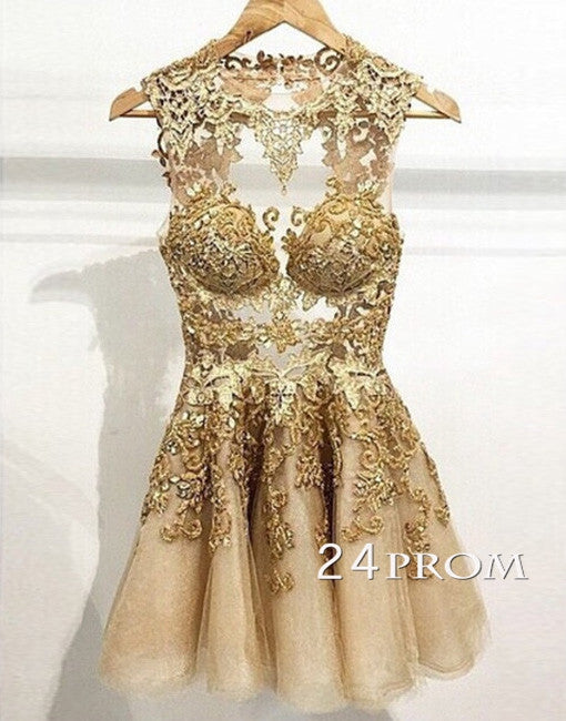 Charming champagne Lace Short Prom Dresses, Homecoming Dresses