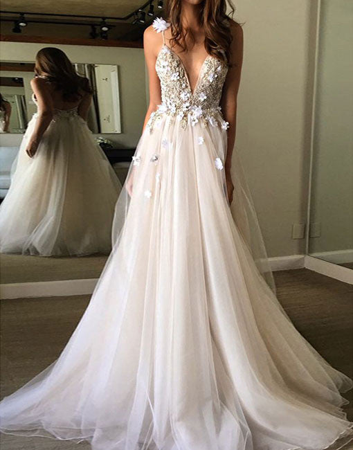 Unique v neck light champagne tulle long prom dress, evening dress