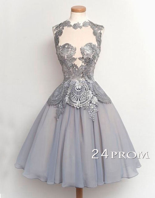 Pretty A-line Gray Lace Short Prom Dresses