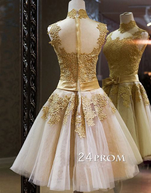 Custom Made Champagne Lace Short Prom Dresses, Homecoming Dresses, Bridesmaid Dresses
