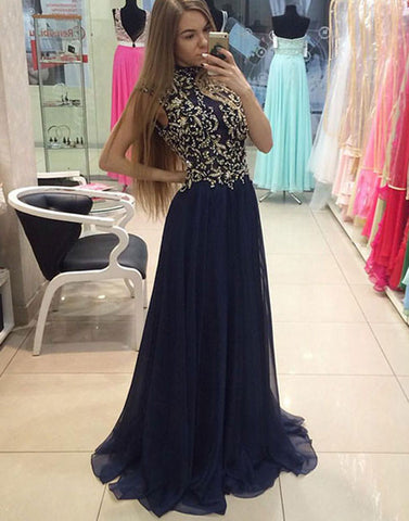 Dark blue chiffon beads chiffon long prom dress, beads evening dress