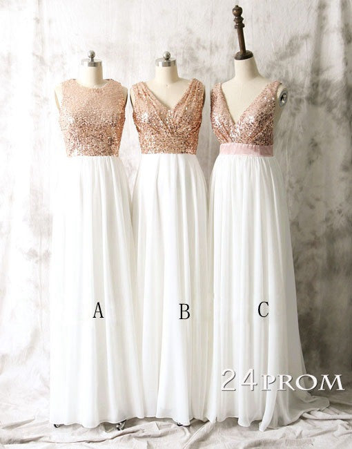 Sequin Chiffon White Long Bridesmaid Dresses, Long Sequin Chiffon White Prom Dresses