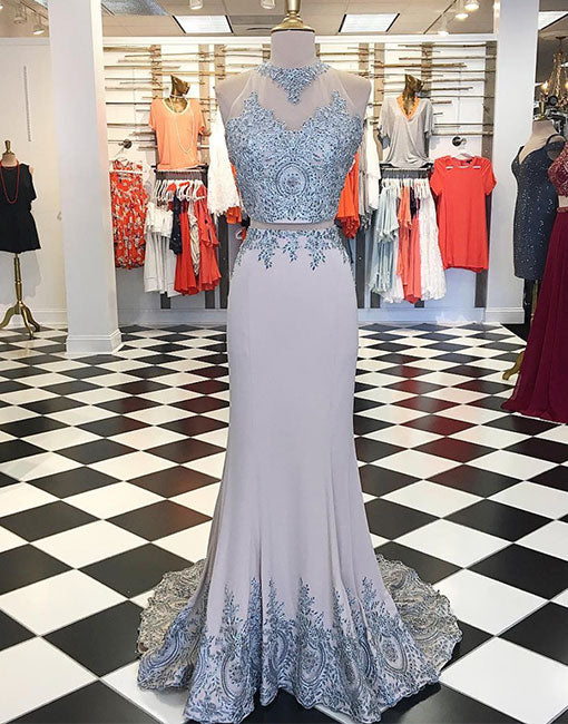 Unique gray lace applique long prom dress, evening dress