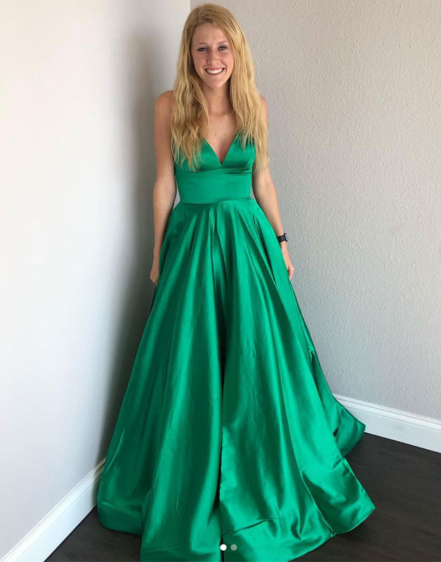 Simple v neck satin green long prom dress, green evening dress