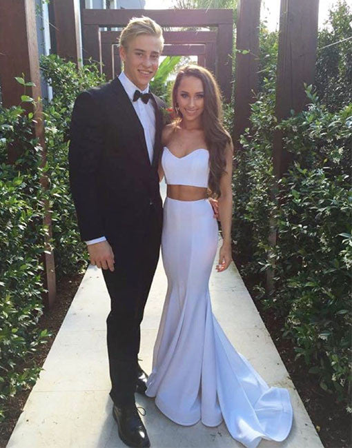 simple white two pieces long prom dress, white formal dress