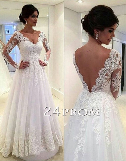 White V Neck Lace Long Sleeve Long Wedding Dresses, Bridal Dress